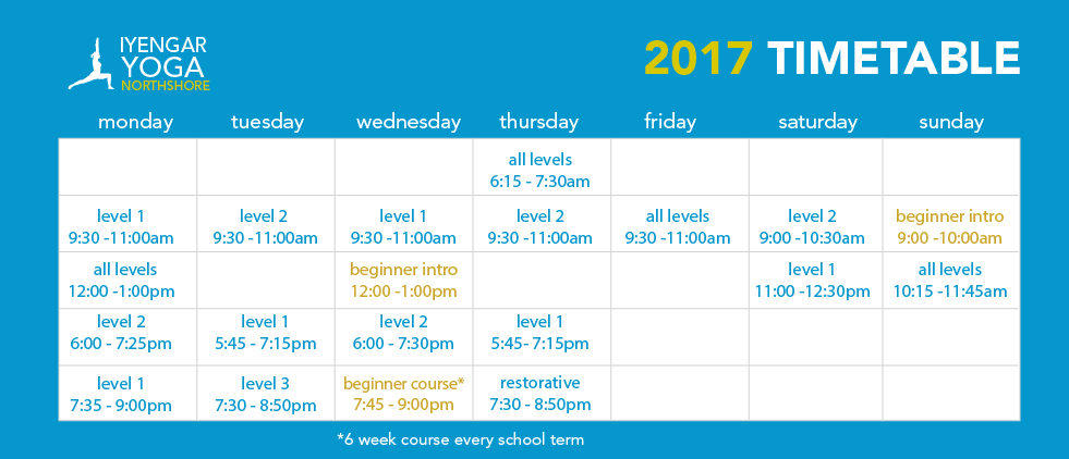 North Shore Yoga Timetable Classes
